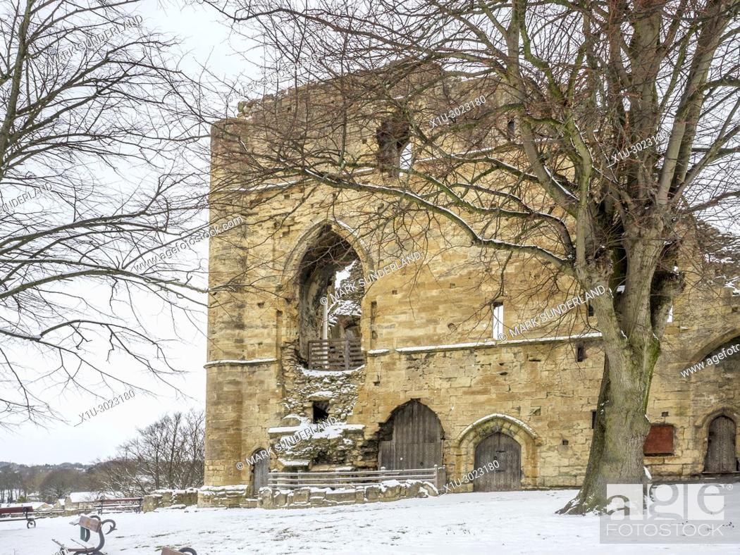 Stock Photo: The Kings Tower at Knaresborough Castle in Winter Knaresborough North Yorkshire England.