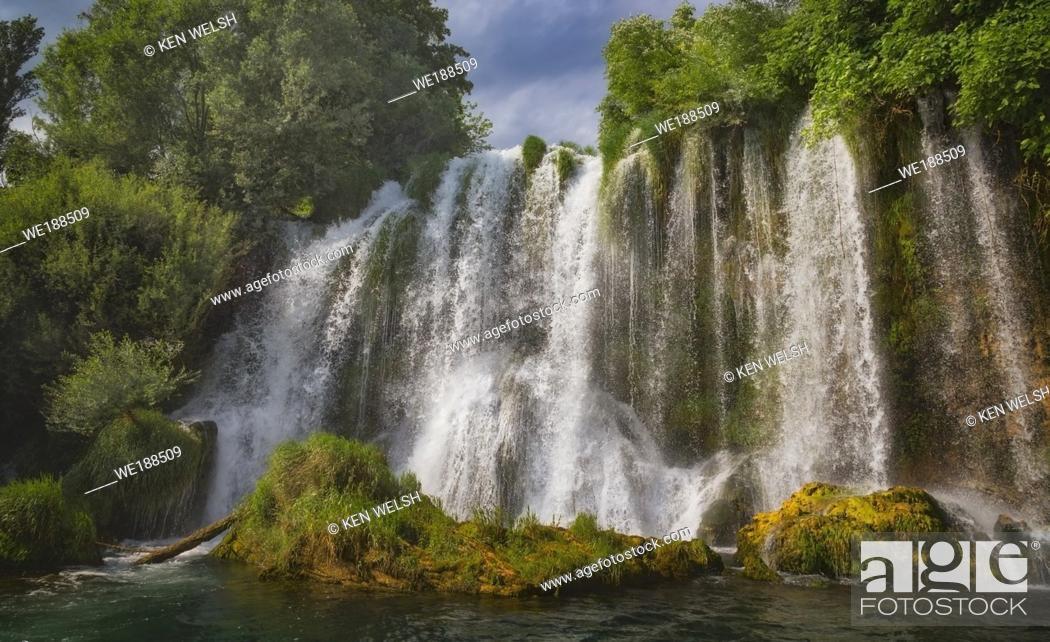 Stock Photo: Krka National Park, Nacionalni park Krka, Dalmatia, Croatia. Roski Slap. Waterfalls.
