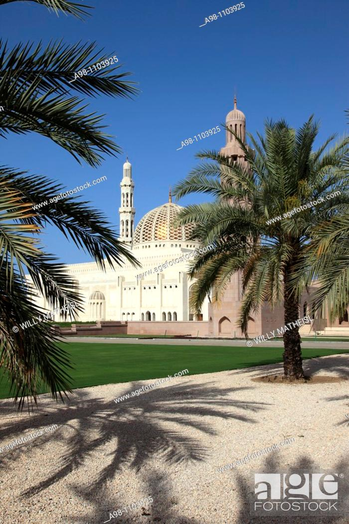 Stock Photo: exterior view of Grand Mosque Sultan Qaboos, Muscat, Sultanat of Oman, Asia.