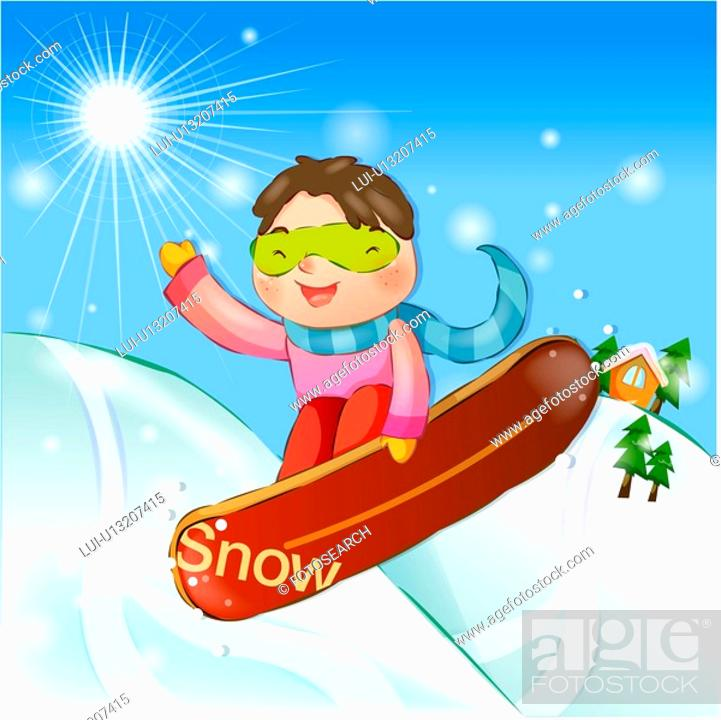 Stock Photo: snowboard, snow, sports, girl, chirstmas, winter.