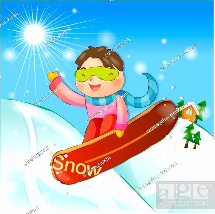 Stock Photo: snowboard, snow, sports, girl, chirstmas, winter.