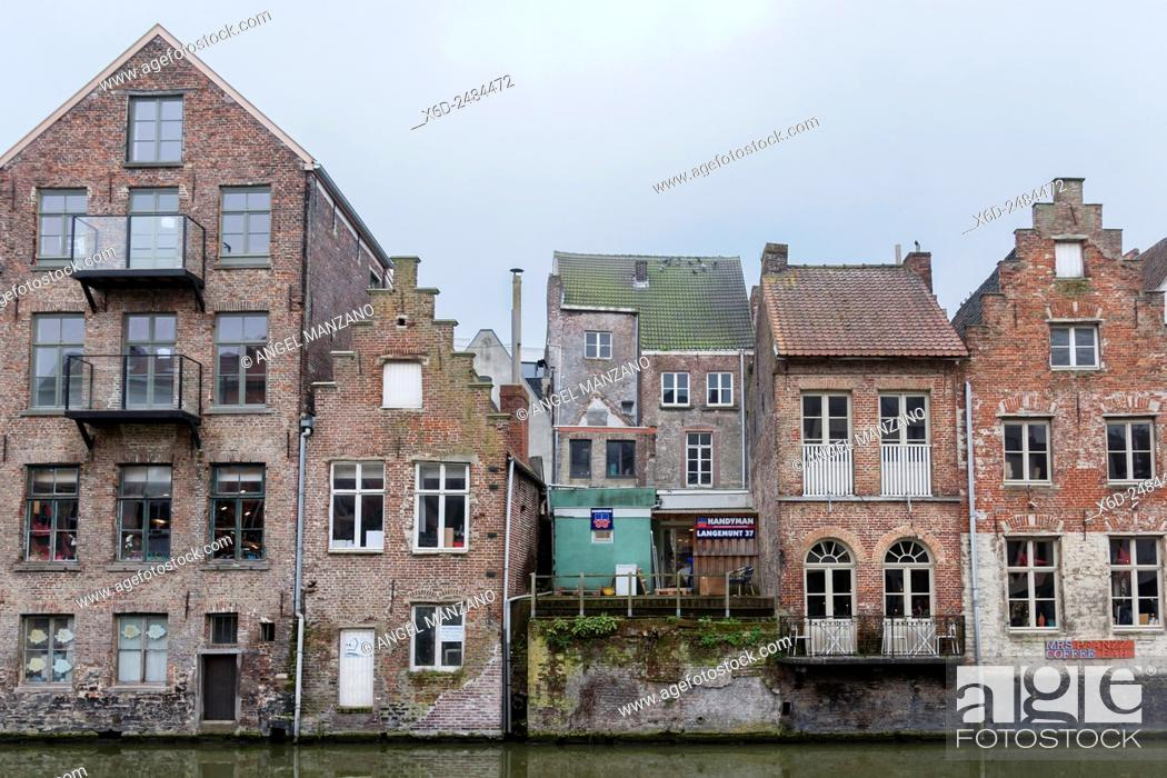 Stock Photo: Canal in Ghent old town.