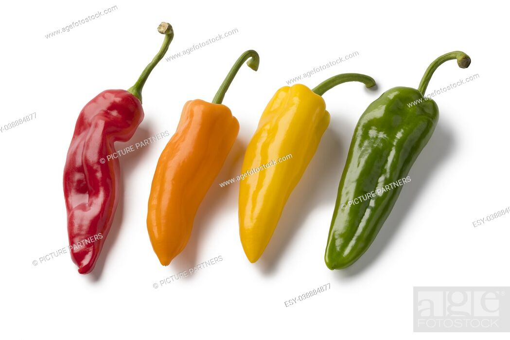 Stock Photo: Fresh variety of red, yellow, orange and green sweet pointed peppers isolated on white background.