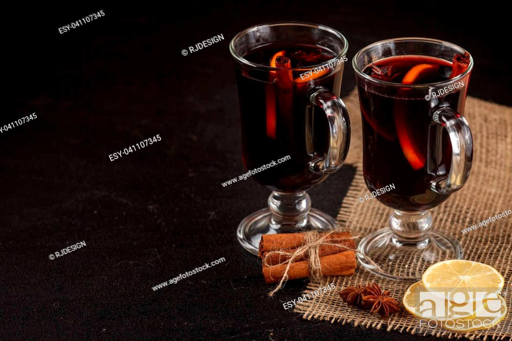 Mulled Wine Banner Glasses With Hot Red Wine And Spices On Dark Background Stock Photo Picture And Low Budget Royalty Free Image Pic Esy 041107345 Agefotostock