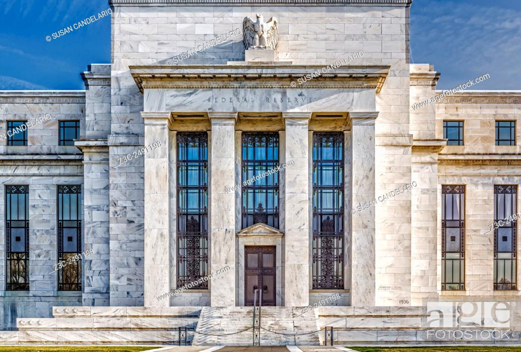 Stock Photo: The US Federal Reserve Board Building - Close view of the United States Federal Reserve Building main entrance (Marriner S.