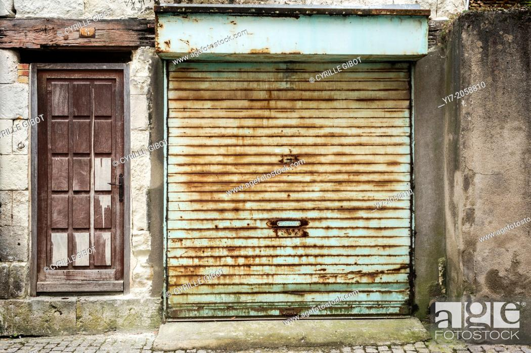 Stock Photo: Closed curtain, Saint-Aignan, Loir-et-Cher, Centre, France.