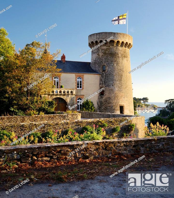 Stock Photo: Chateau de Pornic restored mediaeval castle once property of Gilles de Rais. Port of Pornic, Brittany, France. Bluebeards Castle.