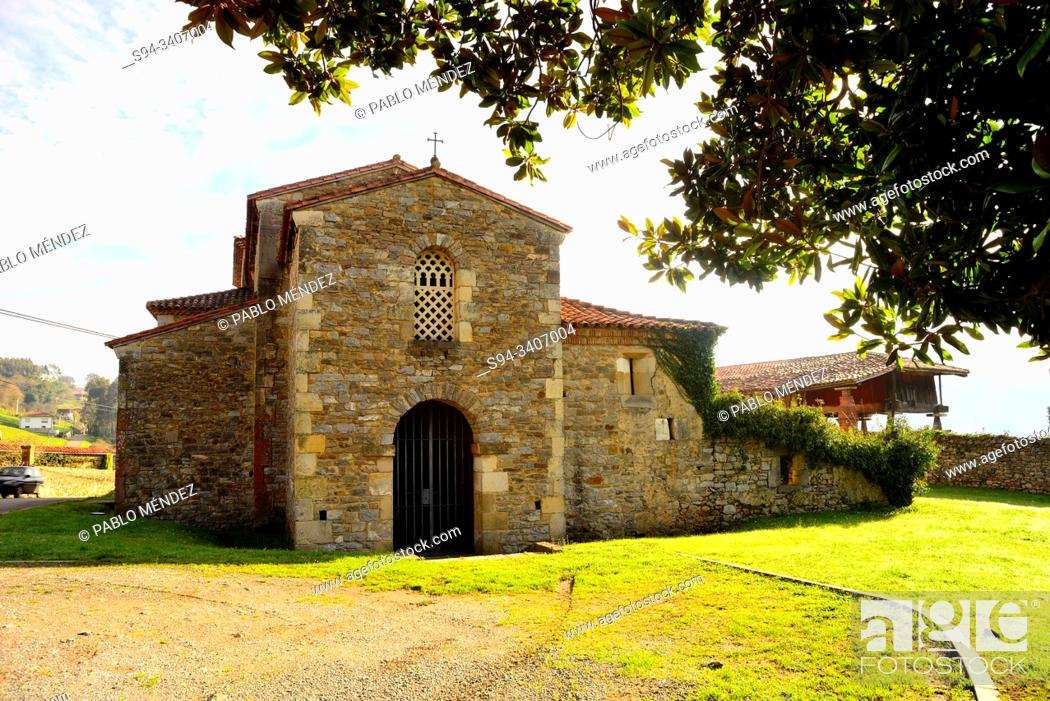 Stock Photo: Church of San Juan Evangelista in Santianes de Pravia, Pravia, Asturias, Spain.