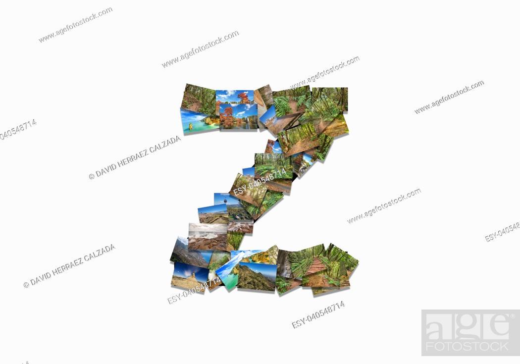 Stock Photo: Letter Z uppercase font shape alphabet collage made of my best landscape photographs. Version 3.