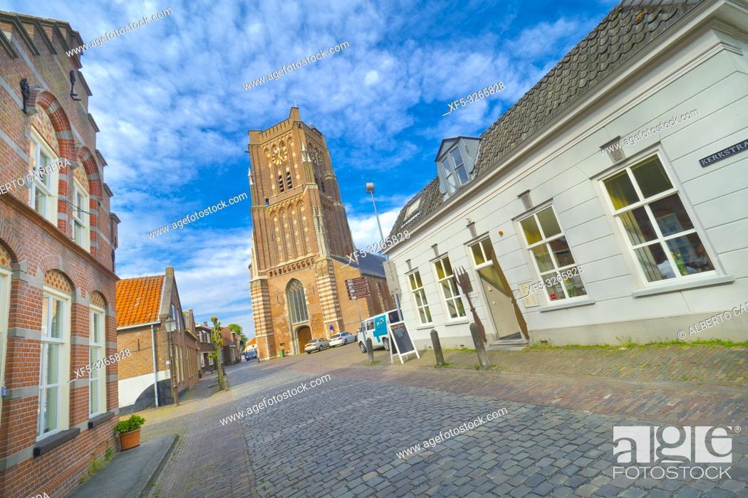 Stock Photo: Street Scene, St. Martin's Church, Woudrichem, Noord-Brabant Province, Holland, Netherlands, Europe.