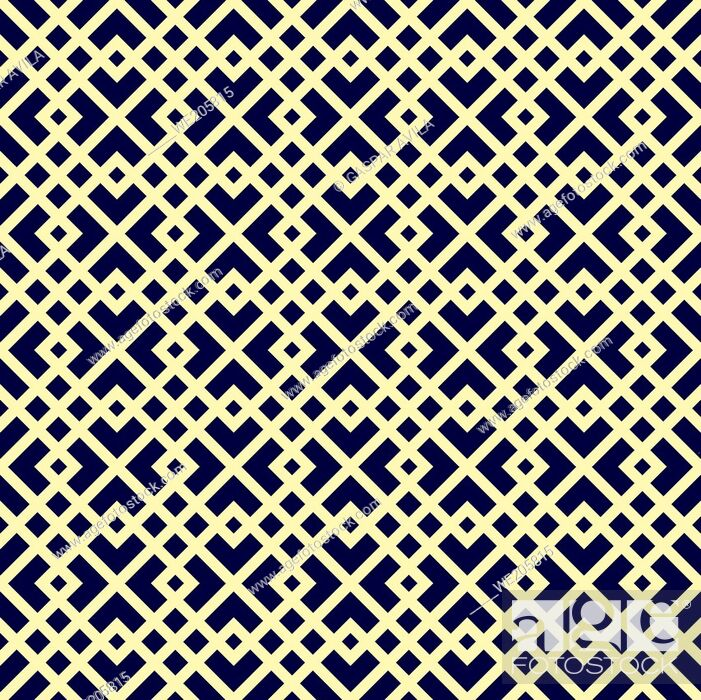 Vecteur de stock: Arabic style seamless pattern with light yellow geometric shapes on a dark blue background.