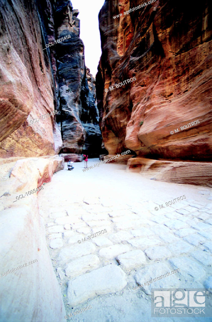 Stock Photo: The Siq, one of the principle routes of communication in Petra, Jordan.