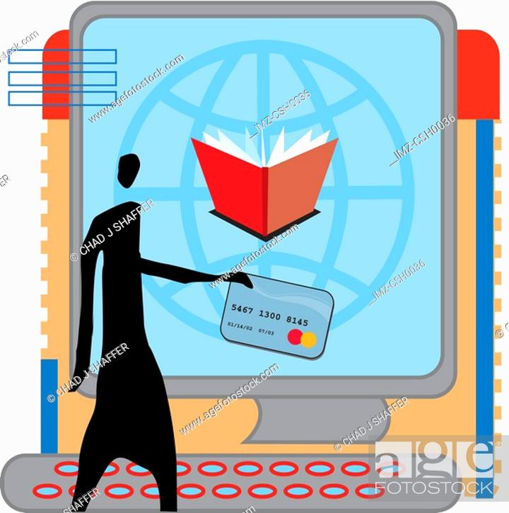 Stock Photo: books online.
