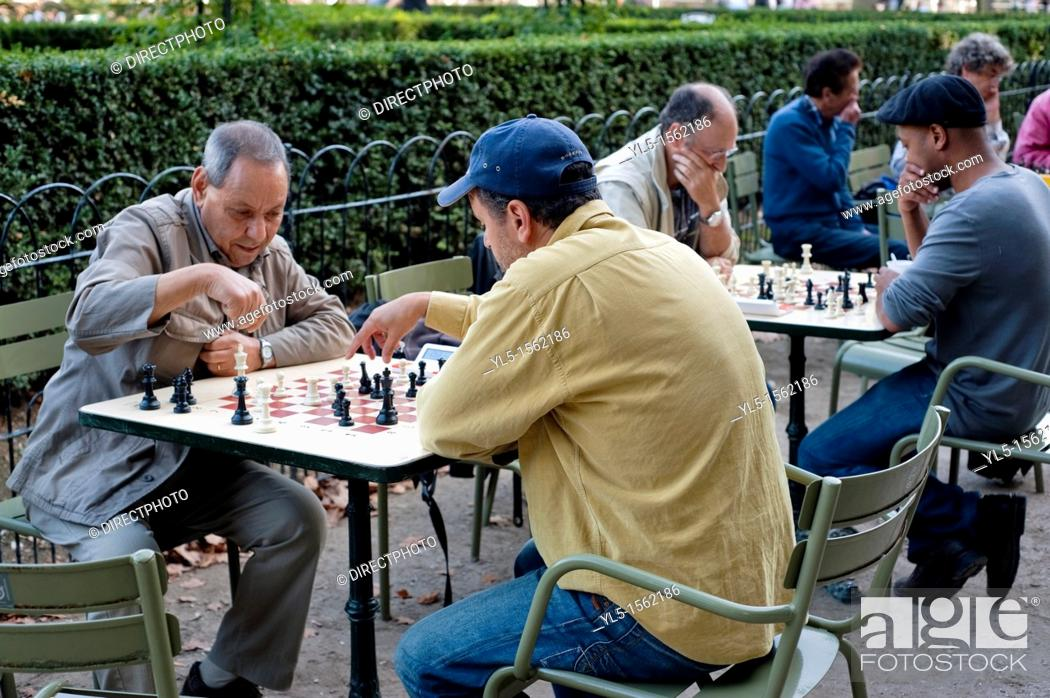 Paris, France, Men Playing Chess on Tables Outside in Urban ...