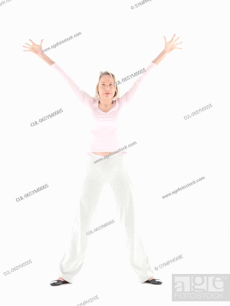 Stock Photo: Mature woman stretching.