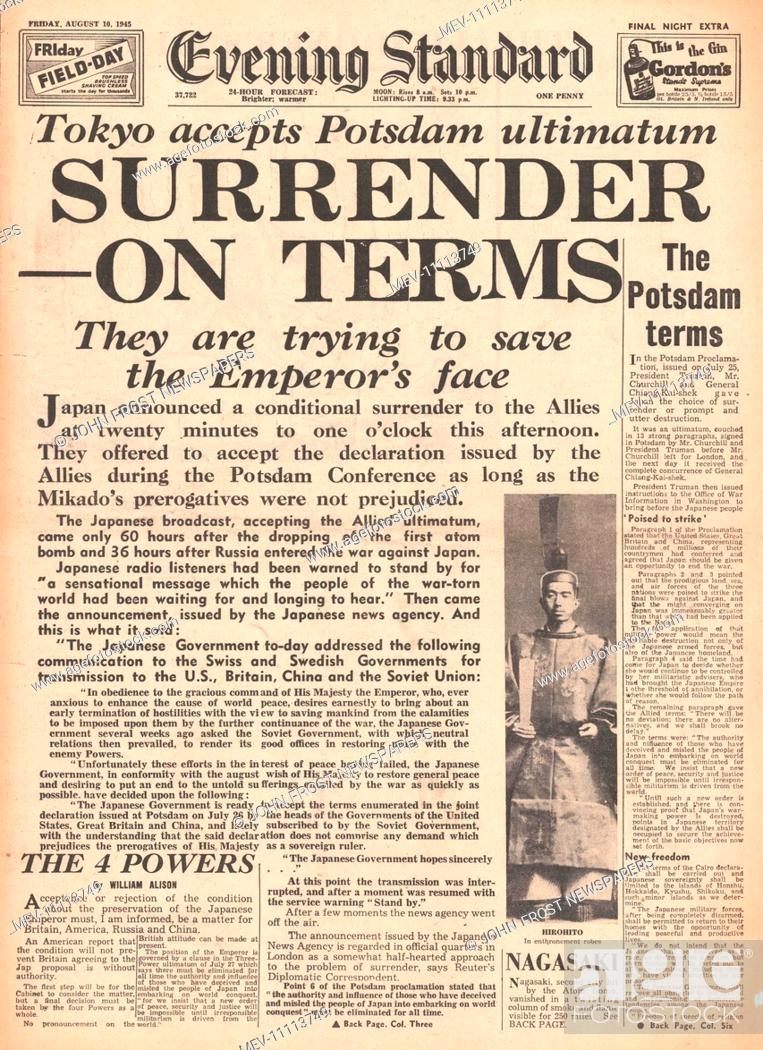 1945 Evening Standard (London) front page reporting Japan offers