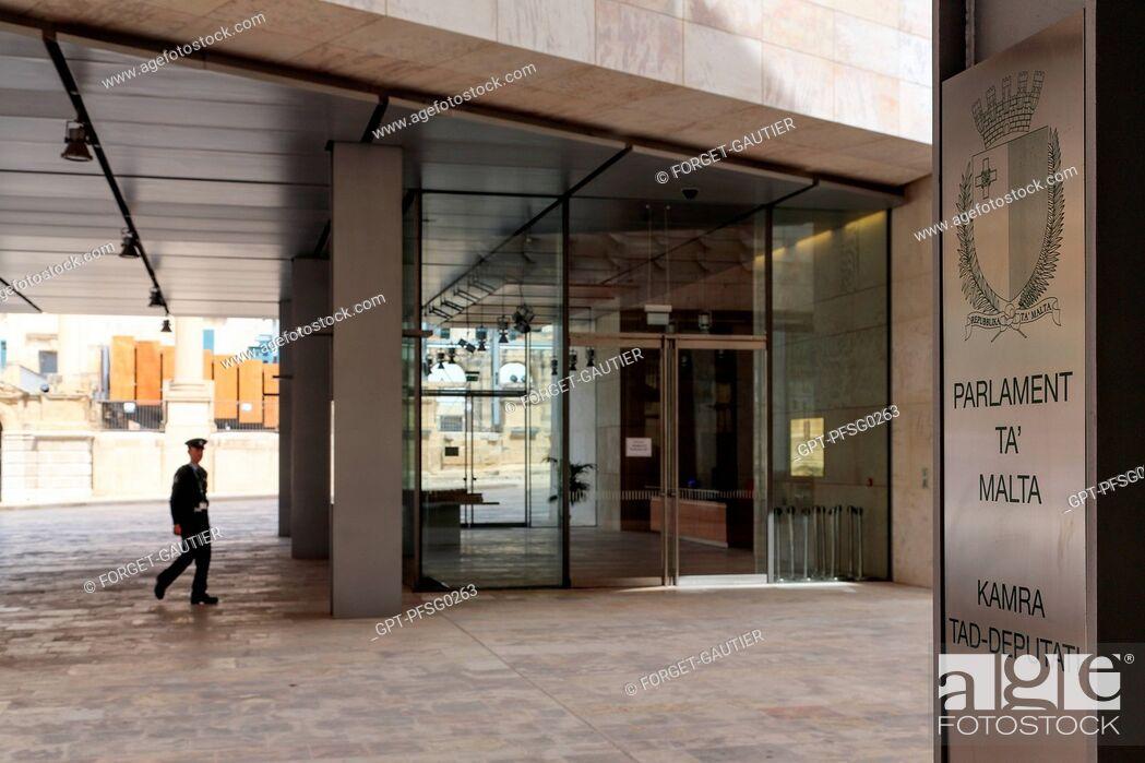 Stock Photo: THE NEW MALTESE PARLIAMENT BUILDING CREATED BY RENZO PIANO, VALLETTA, MALTA.