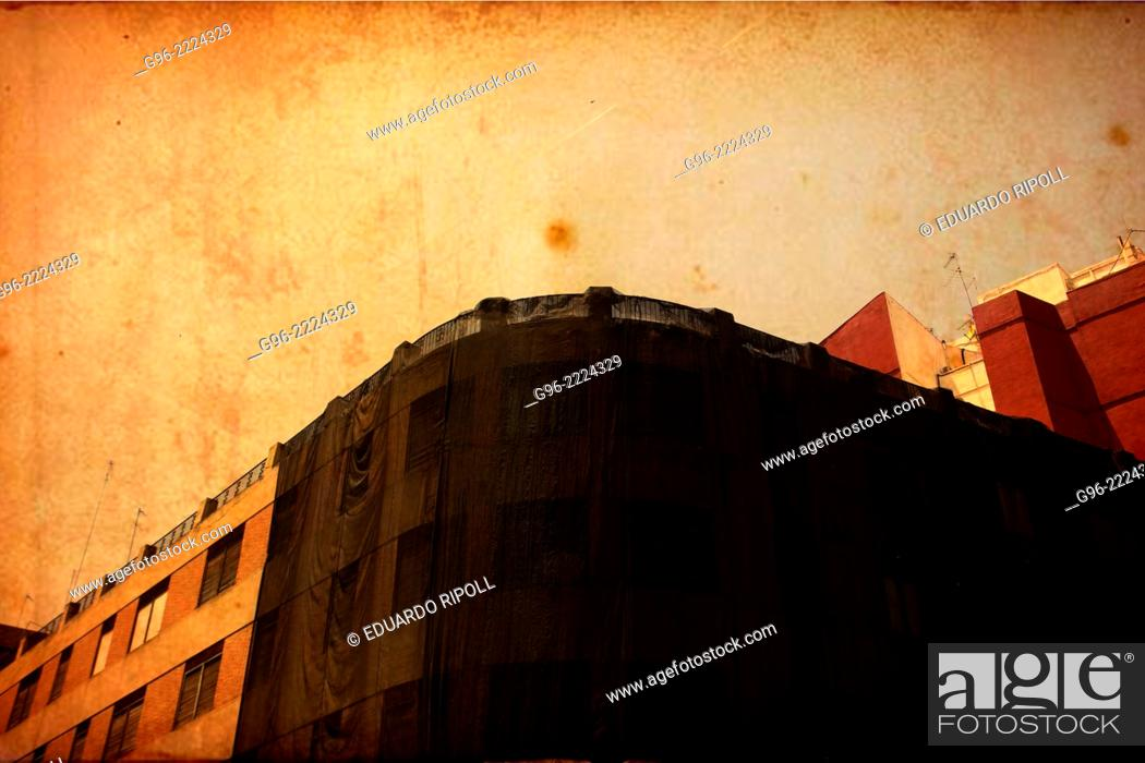 Stock Photo: Facade of a building in Valencia, Spain, vintage picture.