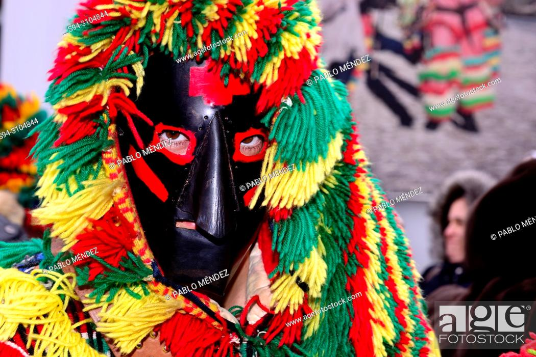 "Stock Photo: Masks of Caretos """"Traditional carnival mask"""" of Podence, Macedo de Cavaleiros, Portugal."