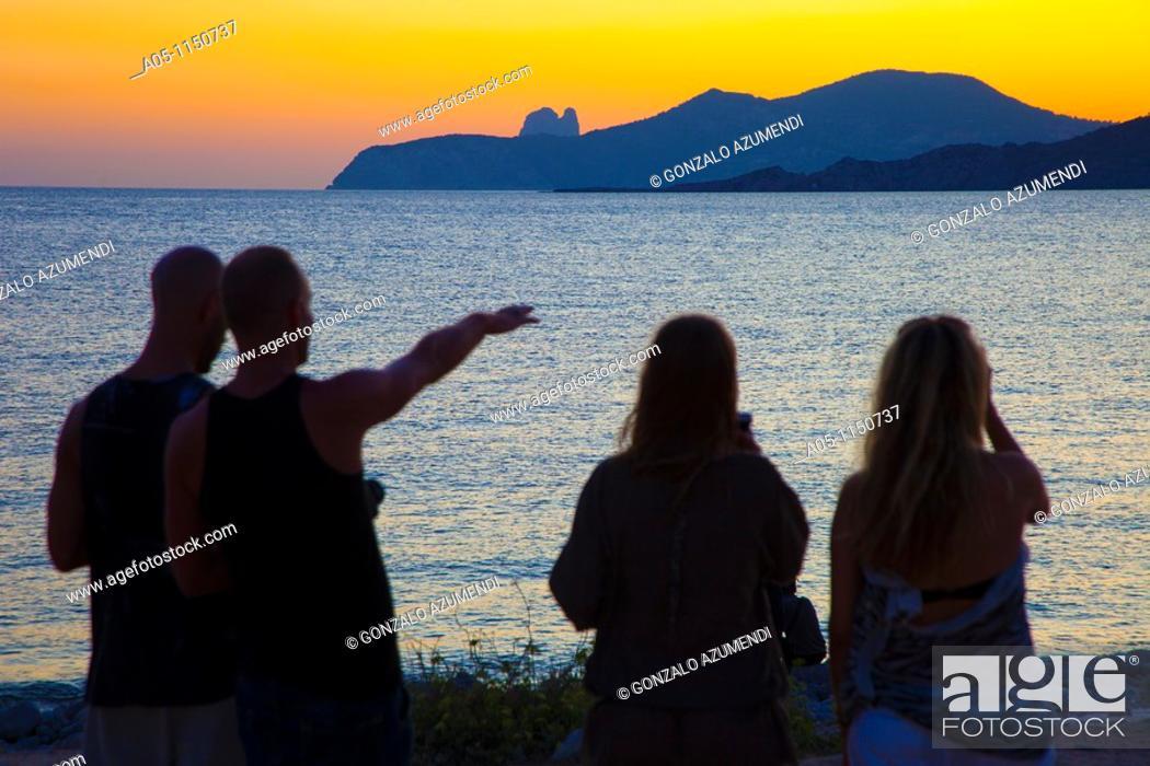 Stock Photo: Restaurant Cap des Falco. Chiringuito. Es Codolar Beach. Ses Salines Natural Park. Young people enjoying the Sunset. Ibiza. Balearic Islands  Spain.