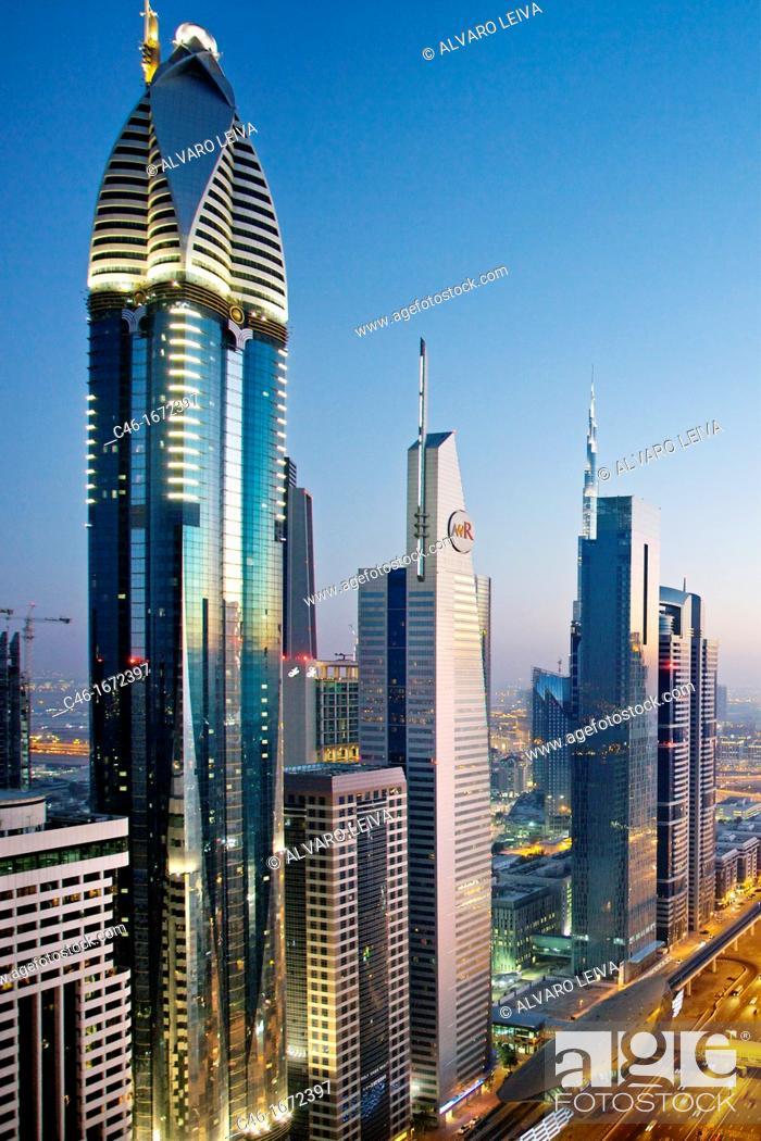 Stock Photo: Sheik Zayed Avenue, Satwa district, Dubai City, Dubai, United Arab Emirates, Middle East.