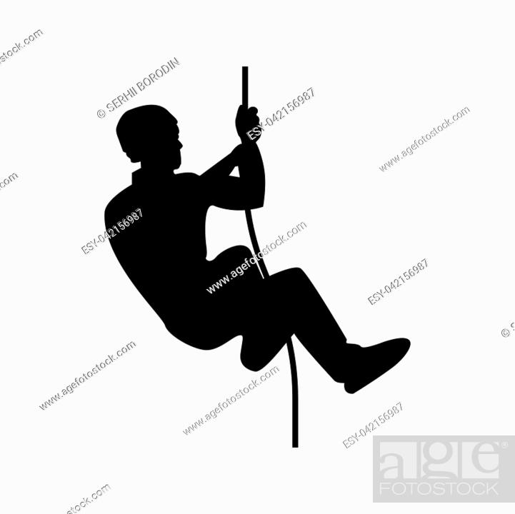 Stock Vector: Rock climber icon black color vector illustration flat style simple image.