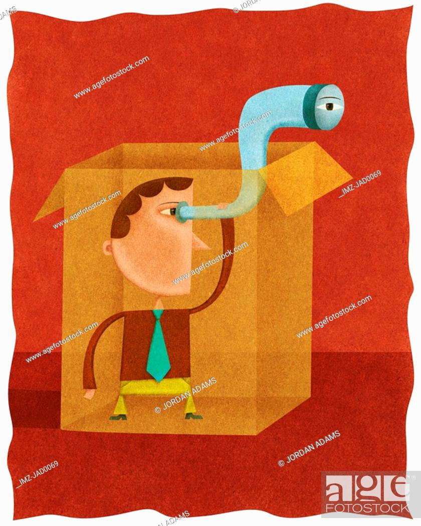 Stock Photo: A businessman using a telescope to look outside of a box.