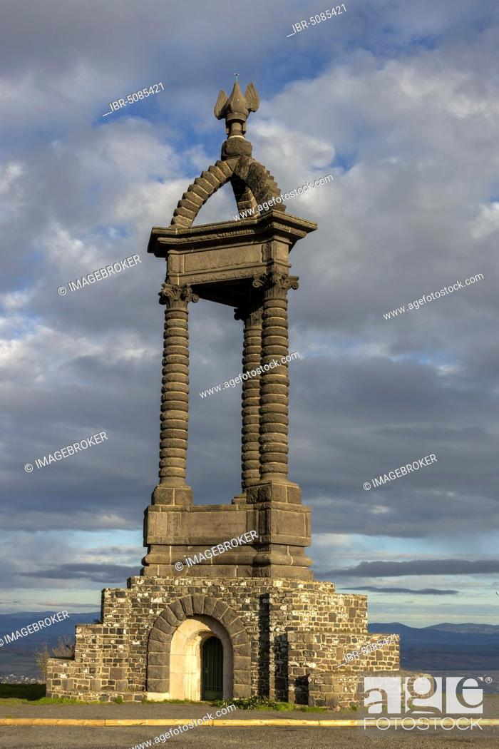 Stock Photo: Oppidum of Gergovie, near Clermont Ferrand, monument built in memory of Vercingétorix Gallic chief, Puy de Dome department, Auvergne-Rhone-Alpes, France, Europe.