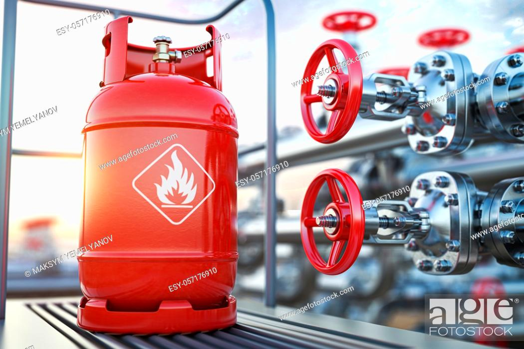 Stock Photo: Production, delivery and filling with natural gas of lpg gas bottle or tank. 3d illustration.