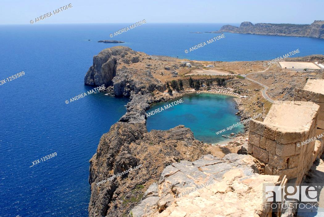 Stock Photo: The view of Lindos bay from the acropolis Greek island of Rhodes Greece.