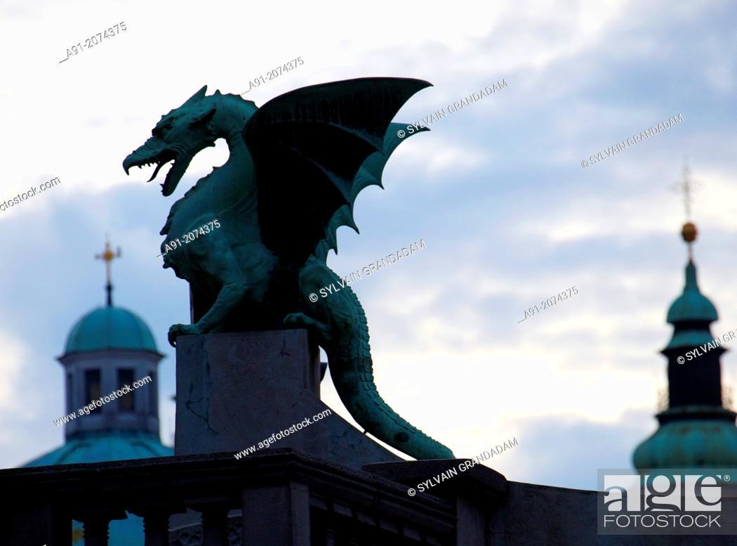 Stock Photo: Slovenia, city of Ljubljana, dragons bridge at night.