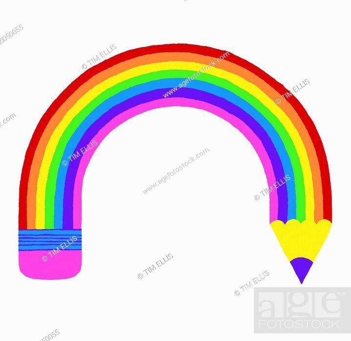 Imagen: Curved rainbow pencil.