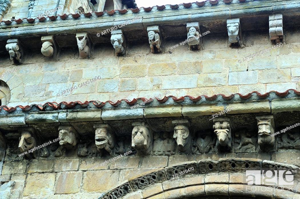 Stock Photo: The Romanesque Collegiate church of San Pedro, 12th century. Cervatos town, Cantabria province, Spain.
