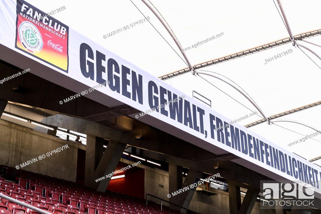Der Dfb Fanclub Mit Einem Transparent Vor Dem Fanblock