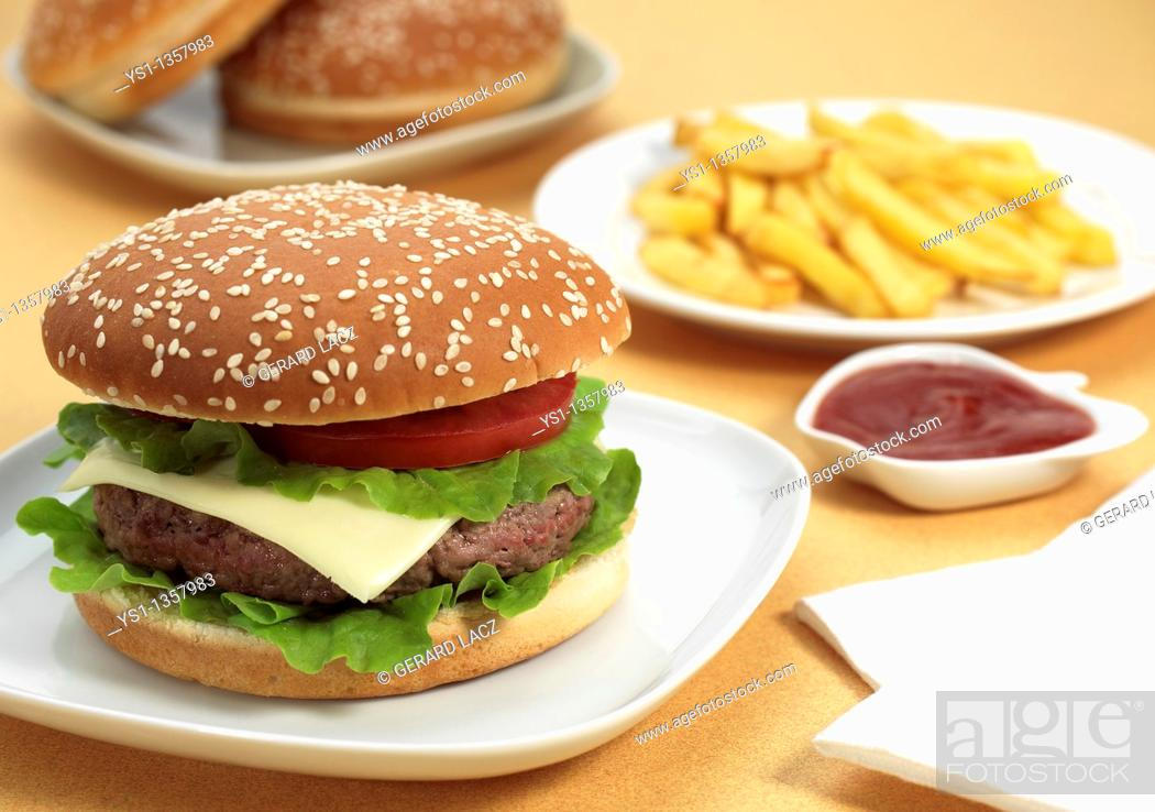 Stock Photo: HAMBURGER WITH FRENCH FRIES AND KETCHUP SAUCE.