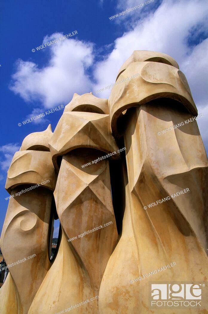 Stock Photo: SPAIN, BARCELONA, MILA HOUSE, 'LA PEDRERA', ROOF, VENTILATION SHAFTS.
