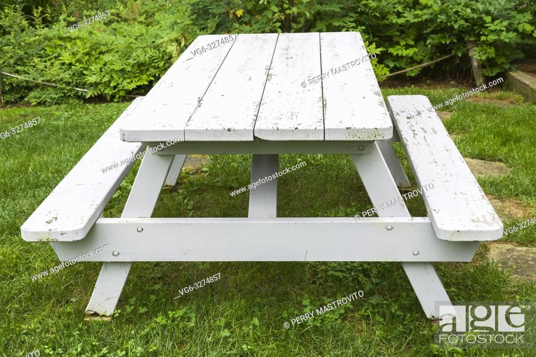 Stainless Steel Bathroom Vanity Cabinet, White Painted Wooden Picnic Table In Residential Backyard Stock Photo Picture And Rights Managed Image Pic Vg6 3274857 Agefotostock