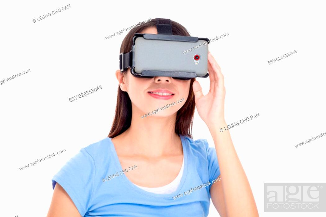 Stock Photo: Asian Woman watching with virtual reality device.