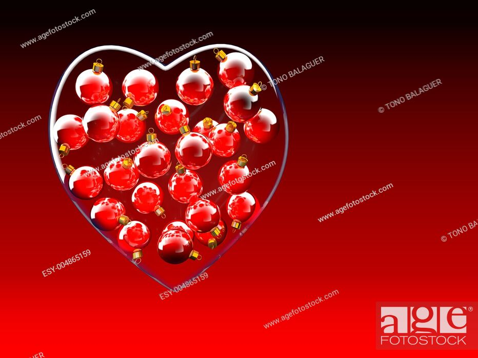Imagen: Christmas baubles heart shape in red and gold as love concept.