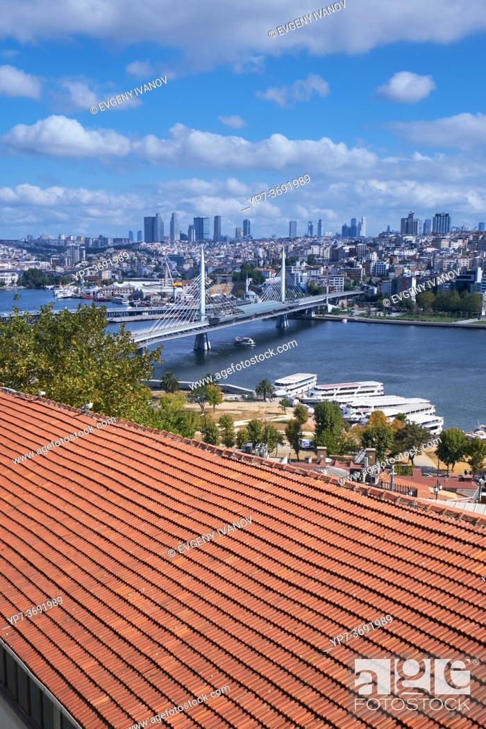 Stock Photo: View of Golden Horn and Metro bridge, Istanbul, Turkey.