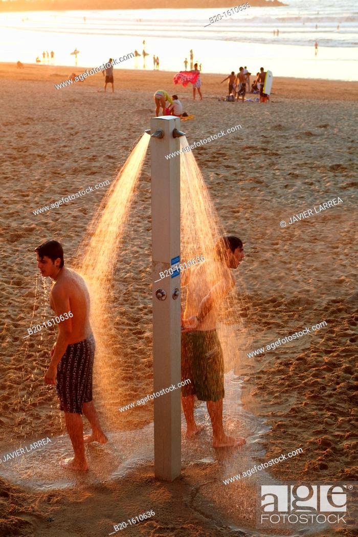 Stock Photo: Shower, Zurriola Beach, Donostia, San Sebastian, Gipuzkoa, Basque Country, Spain.