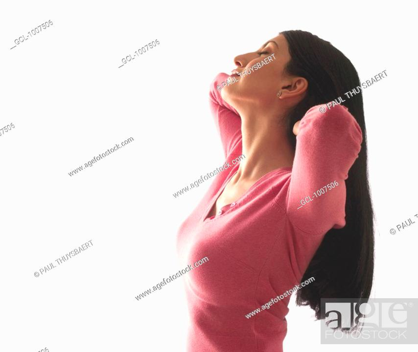 Stock Photo: Portrait of a smiling woman.