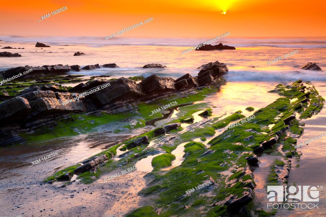 Stock Photo: Coastline at sunset  Barrika beach  Biscay, Basque Country, Spain.