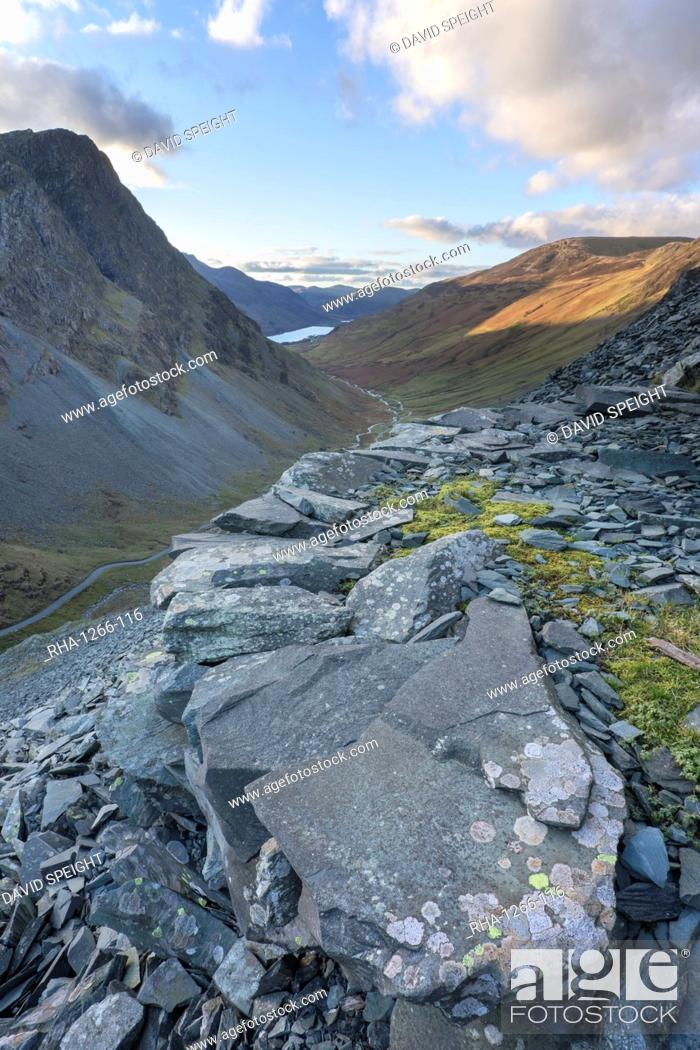 Stock Photo: View towards Buttermere from slate mine workings above the Honister Pass, Honister, Lake District National Park, UNESCO World Heritage Site, Cumbria, England.