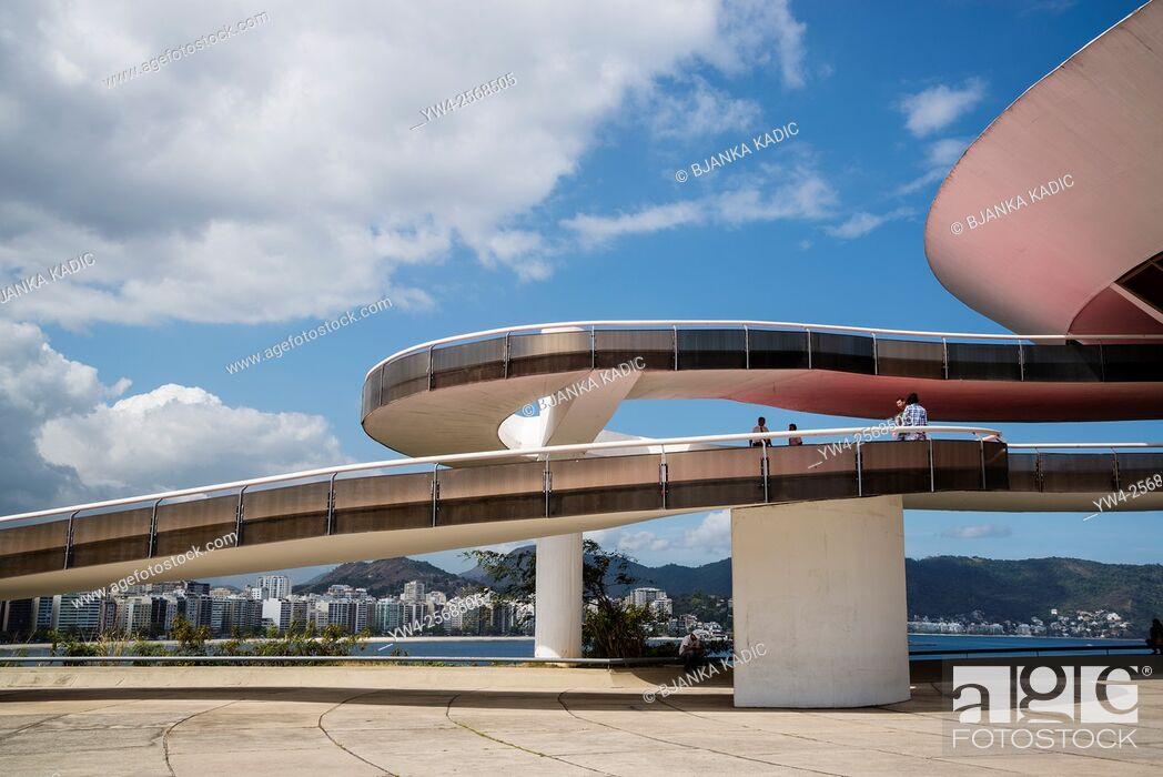 Stock Photo: Niteroi Contemporary Art Museum, Museu de Arte Contemporanea de Niteroi, MAC, Niteroi, Rio de Janeiro, Brazil.