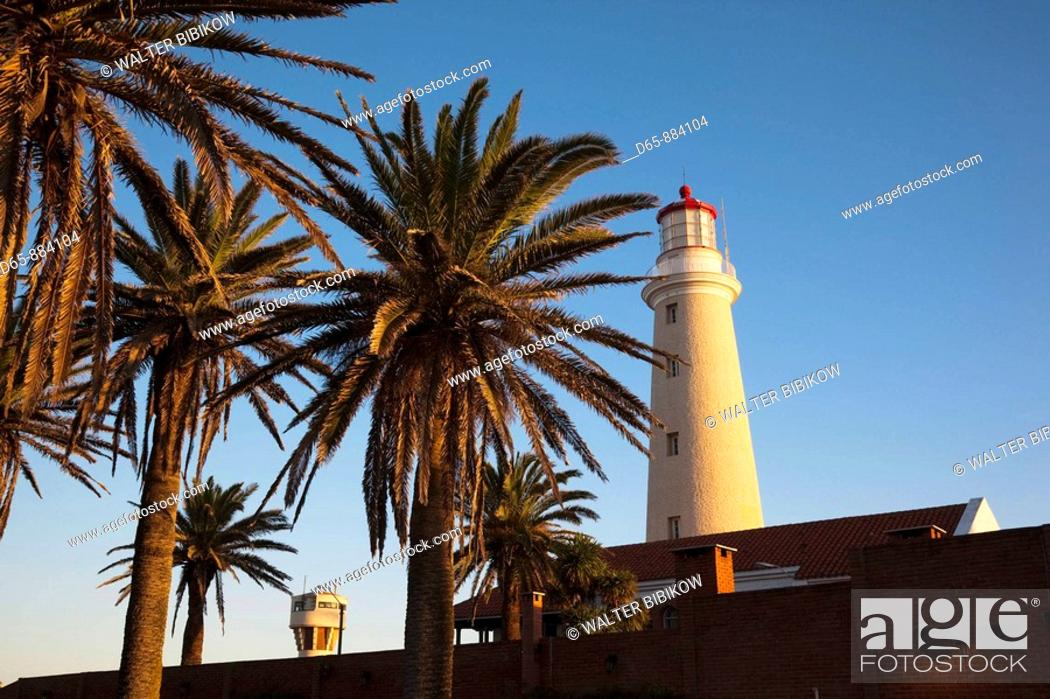 Stock Photo: Town lighthouse at sunset, Punta del Este, Uruguay.