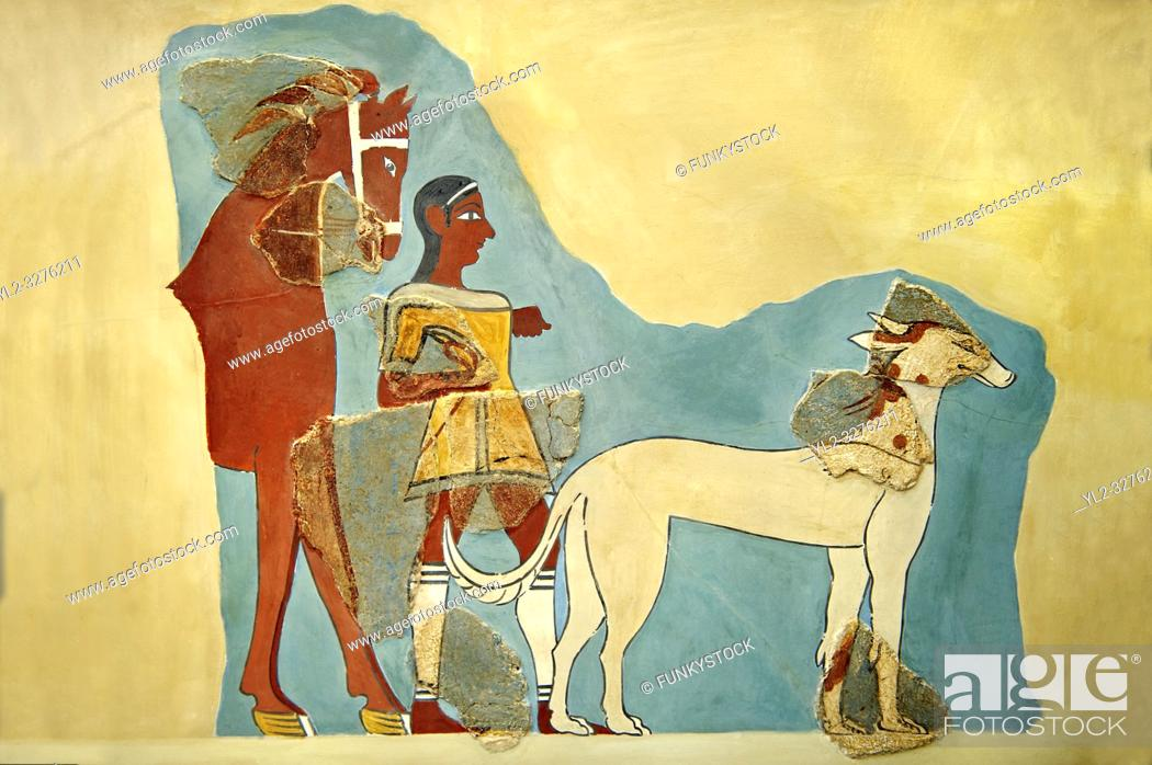 Imagen: Mycenaean Fresco wall painting of a Mycanaean with horse & wild boar hunting dog from the Tiryns, Greece. 14th - 13th Century BC.