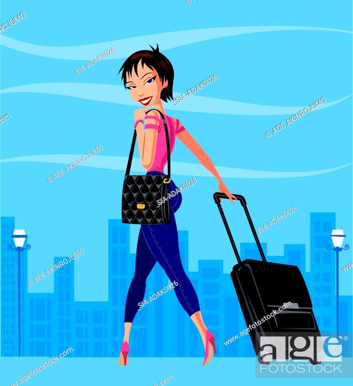 Imagen: Woman in city with wheeled suitcase.