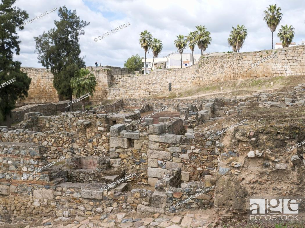 Stock Photo: Muslim Alcazaba and Roman wall. Mérida. Badajoz. Extremadura. Spain.