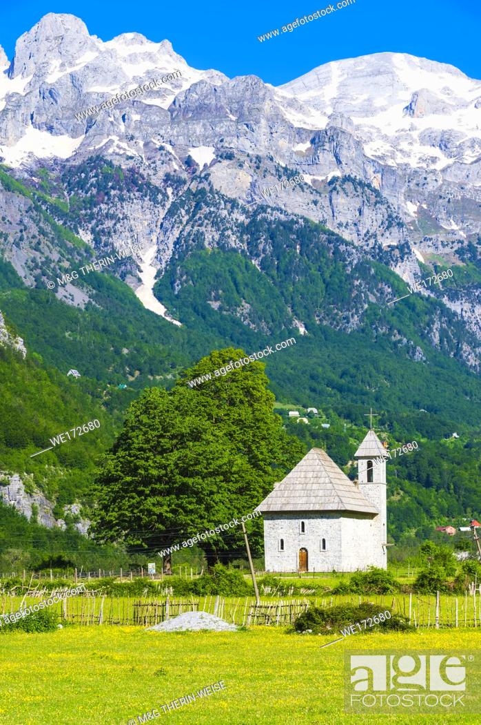 Stock Photo: Catholic Church, Thethi village, Thethi valley, Albania.